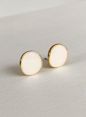 Mini button coin earring