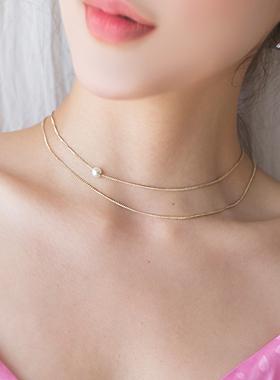 真珠ポイント二行レイヤードネックレス