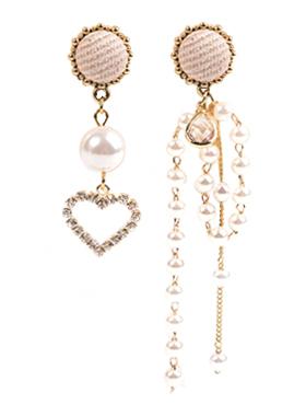 真珠ハートオンバルイヤリング
