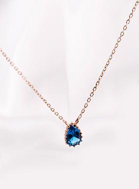 14Kゴールドロンドン青色結晶ネックレス