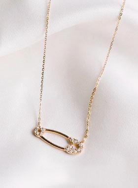 14kゴールドクリップの結晶ネックレス