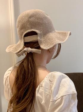 バックパックリボンボンネットバケットハット帽子