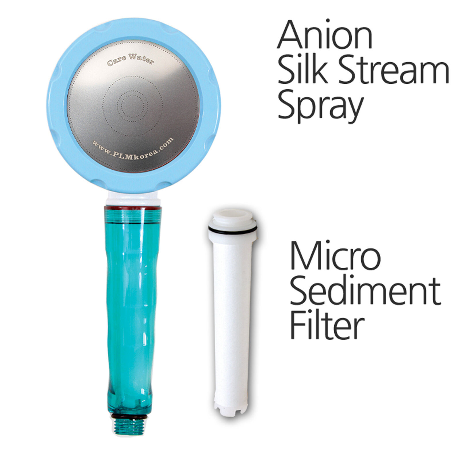 Remove Rust Stain,Korea Shower Head Anion Silk Stream Spray CVS-510(Sky)+filter