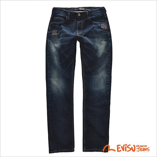 【星店★] EM8JP005_RE补丁洗净复古牛仔裤裤子 - 男士