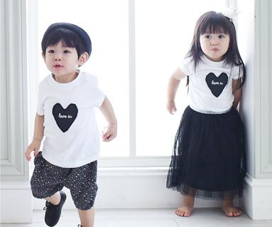 Black Heart圆领婴儿短袖体恤衫_15B08