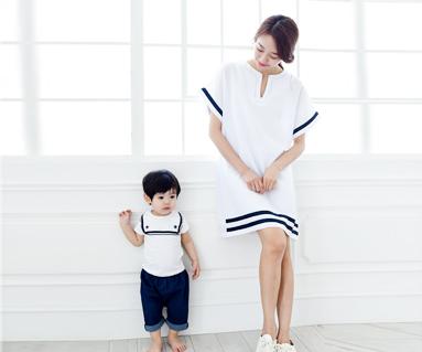 水手家妈妈和宝宝短袖身体_15B16