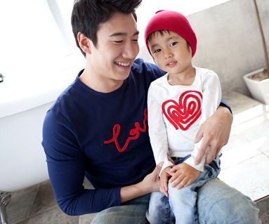 链式绣圆领爸爸和宝宝长袖_11C01