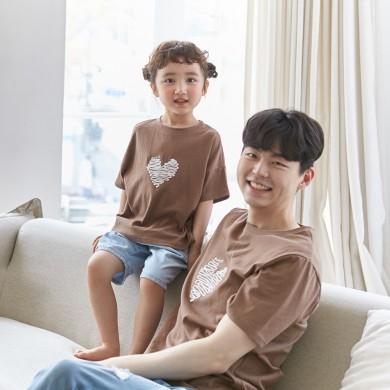 Chocolate Heart短袖体恤爸爸和婴儿21B04MK /亲子装,全家福服装