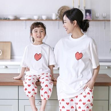 我的心短袖体恤妈妈和宝宝21B09WK /全家福,全家福服装