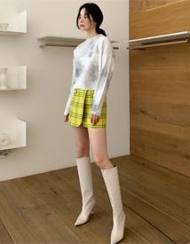 Check-wrap mini skirt