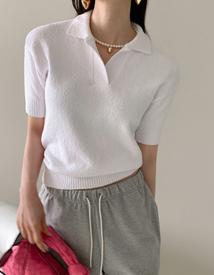 Boucle collar knit