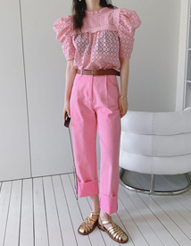 Pink denim pants