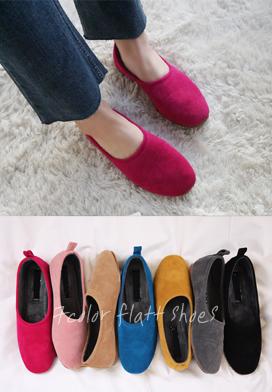 28504 - 毛皮草翻毛皮平底鞋