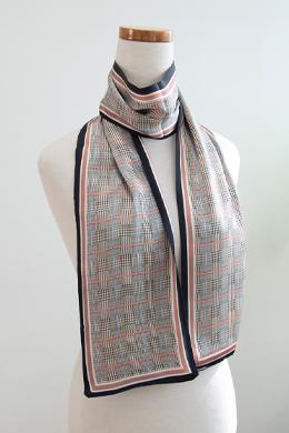 P9923グレンチェックシルクハンドルロングスカーフ
