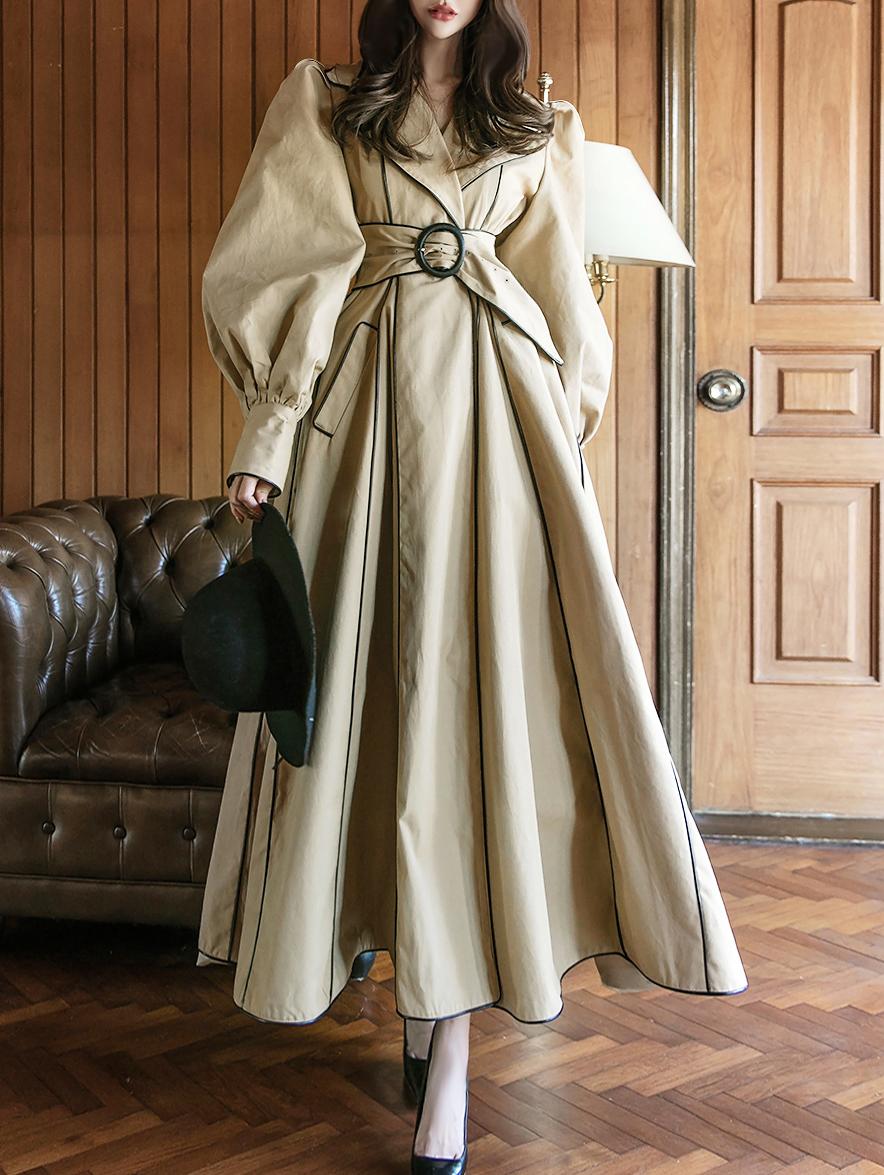 J-9010 棉质泡泡袖风衣 (腰带组合)