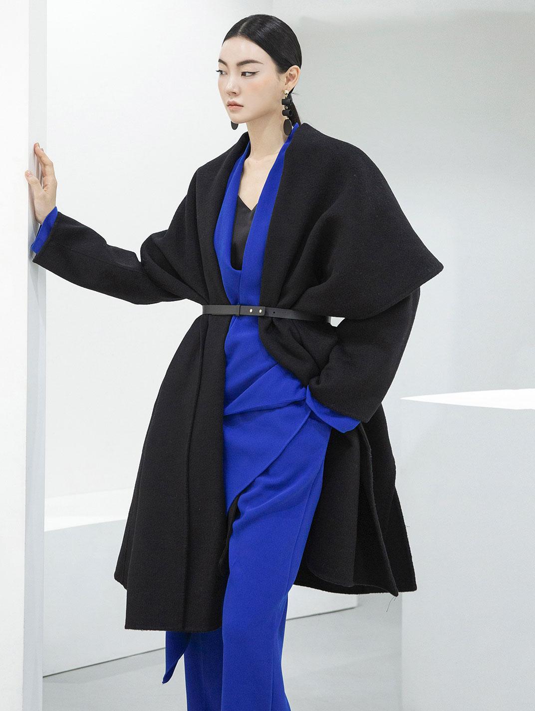 J855 正装短领羊毛大衣 (腰带组合) *手工制作*