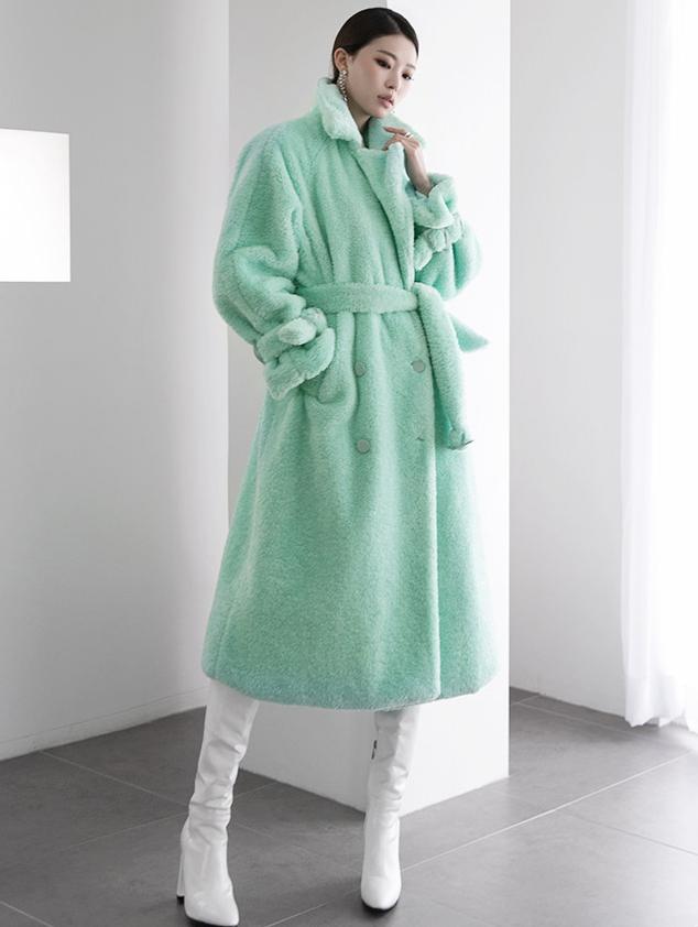 J9046 马汀尼长版毛大衣 (腰带组合)