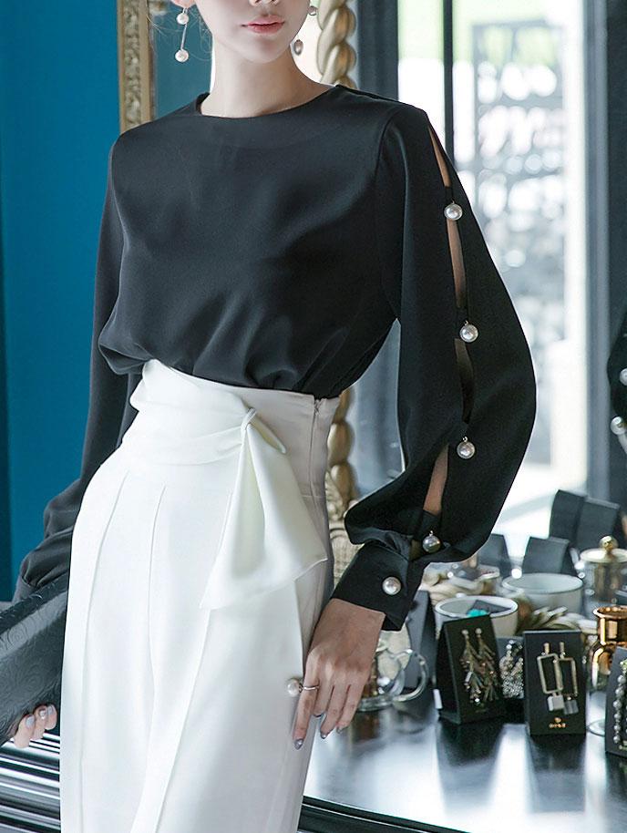 B2324侧珍珠开衩女子衬衫(15号重新放养)