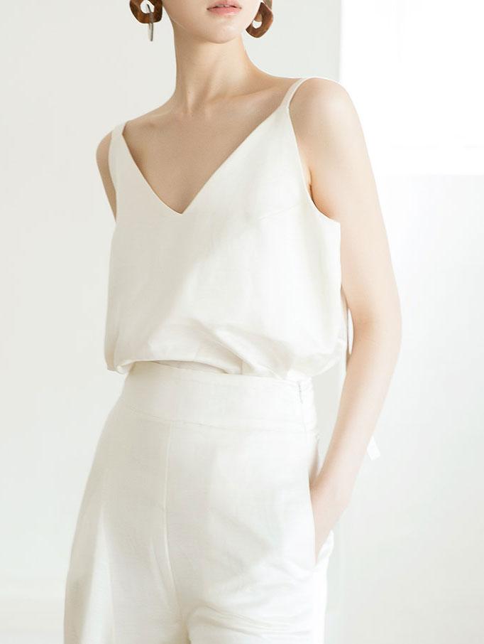 E9003 光泽亚麻V领无袖(线可做调整)