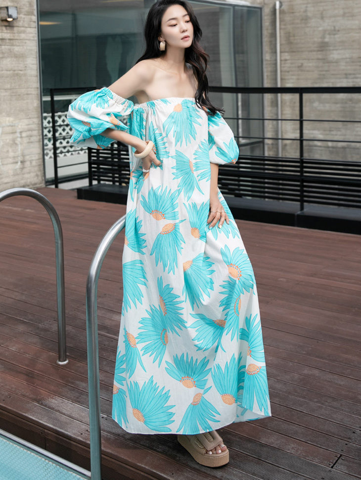 D9178 花纹平肩长版连身裙