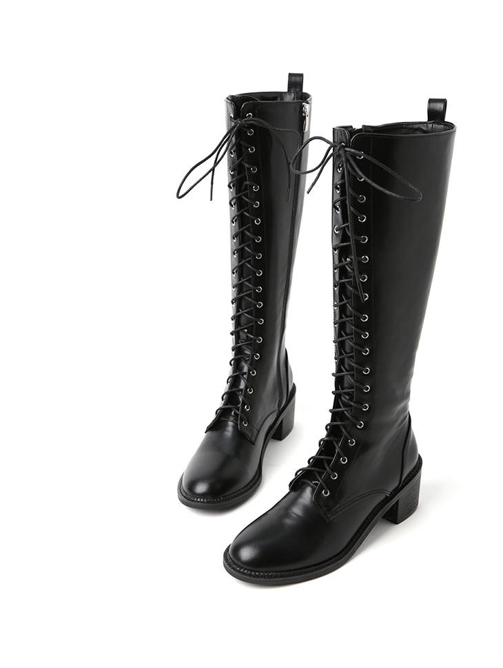 AR-2537 皮革绑带长版靴