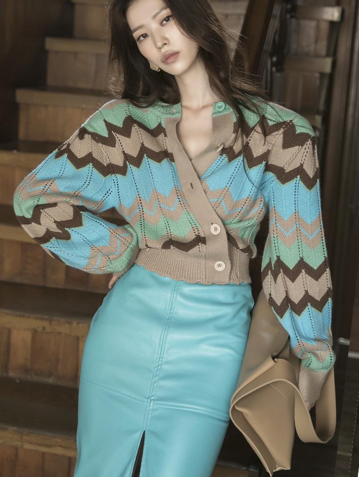J1049 配色图纹羊毛针织外套*前后可以穿着,能用上衣着用*(3rd REORDER)