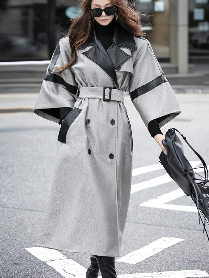 J9076 皮革开岔宽裕垫肩大衣(腰带组合)