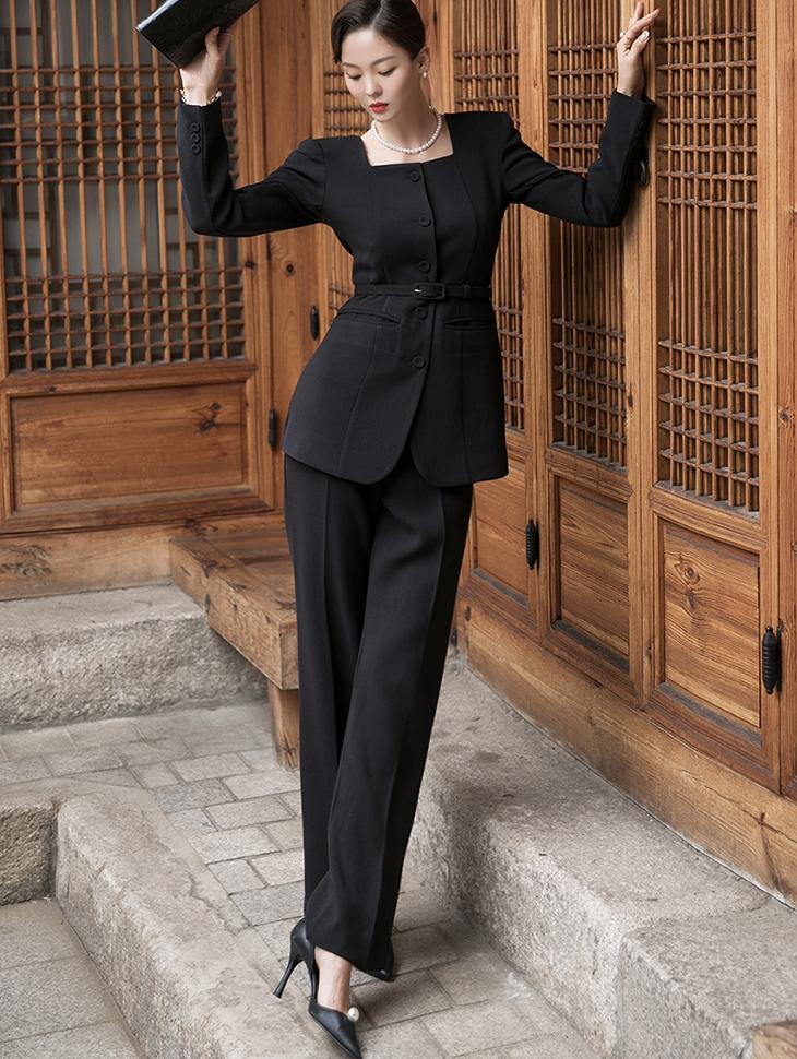 D4131 方形领泡泡夹克宽松裤两件式套装(腰带组合)(13rd REORDER)