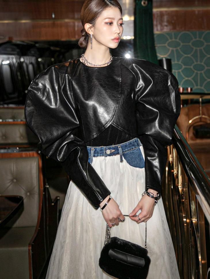 J9072 皮革绑带宽袖露脐夹克