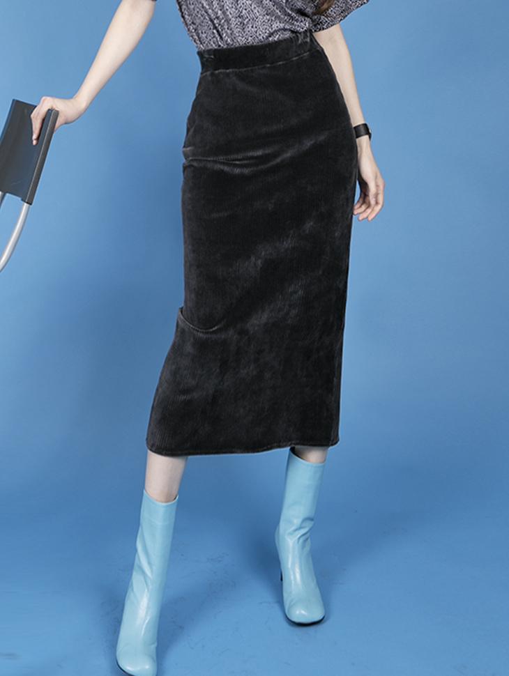 SK2144 天鹅绒灯芯绒长版 裙(3rd REORDER)
