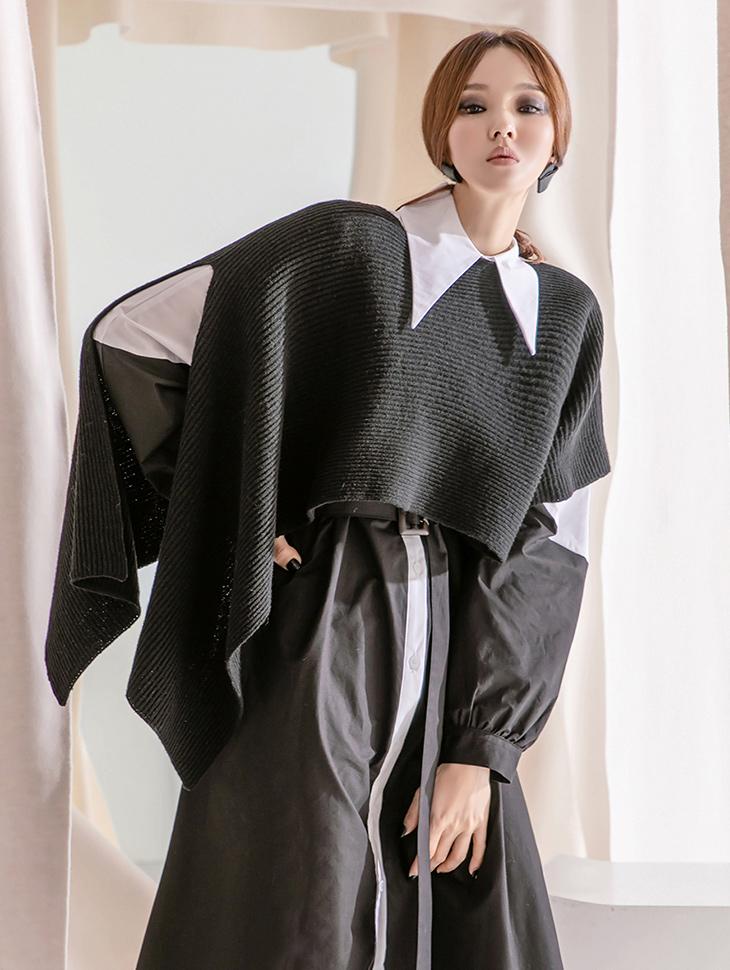 E2380 羊毛不规则露脐圆领披肩针织(21st REORDER)