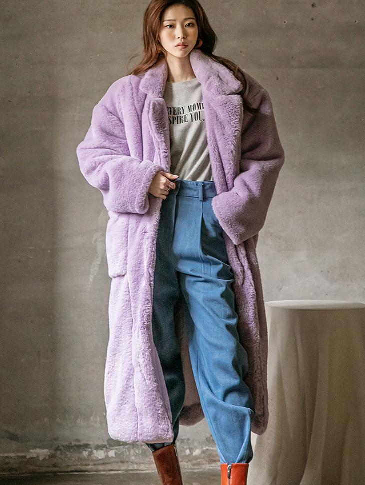 J1170 绒毛的宽版人造毛皮长版大衣