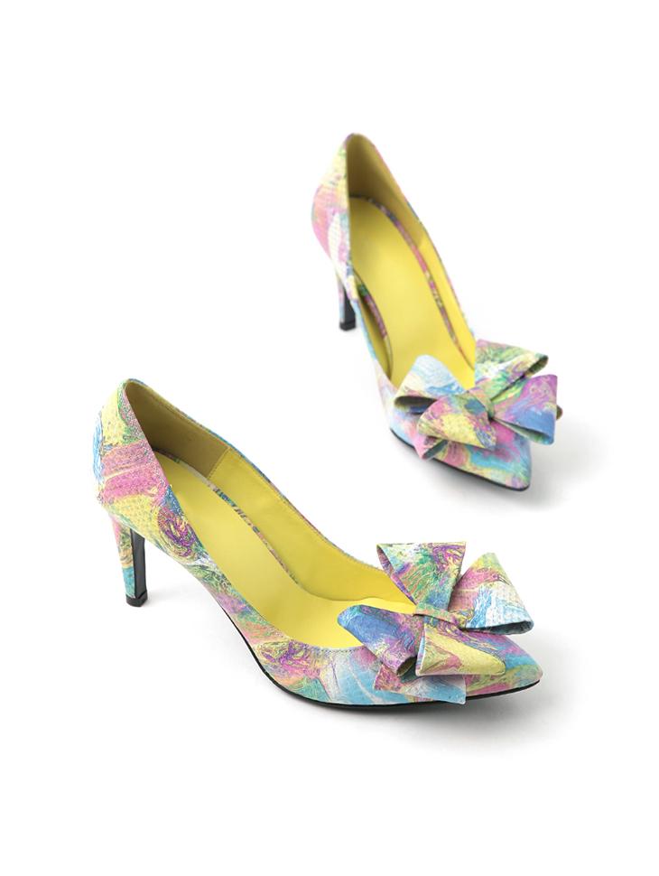 HAR-687 蝴蝶结调色板高跟鞋女式无带浅口轻便鞋*手工制作*