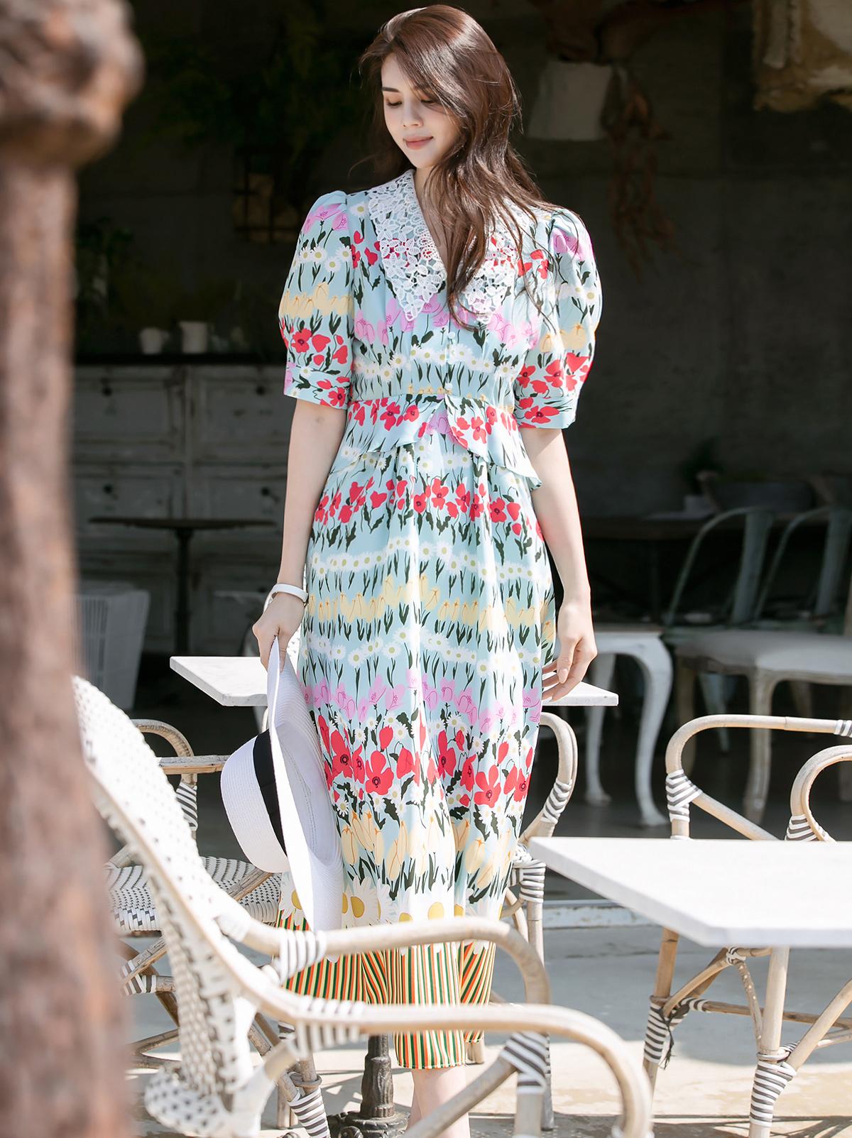 D4020 花纹宽袖连身裙