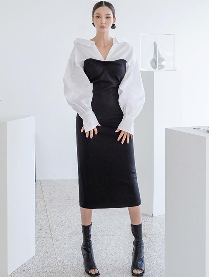 D4197 配色袖口弹性中间连身裙(9th REORDER)