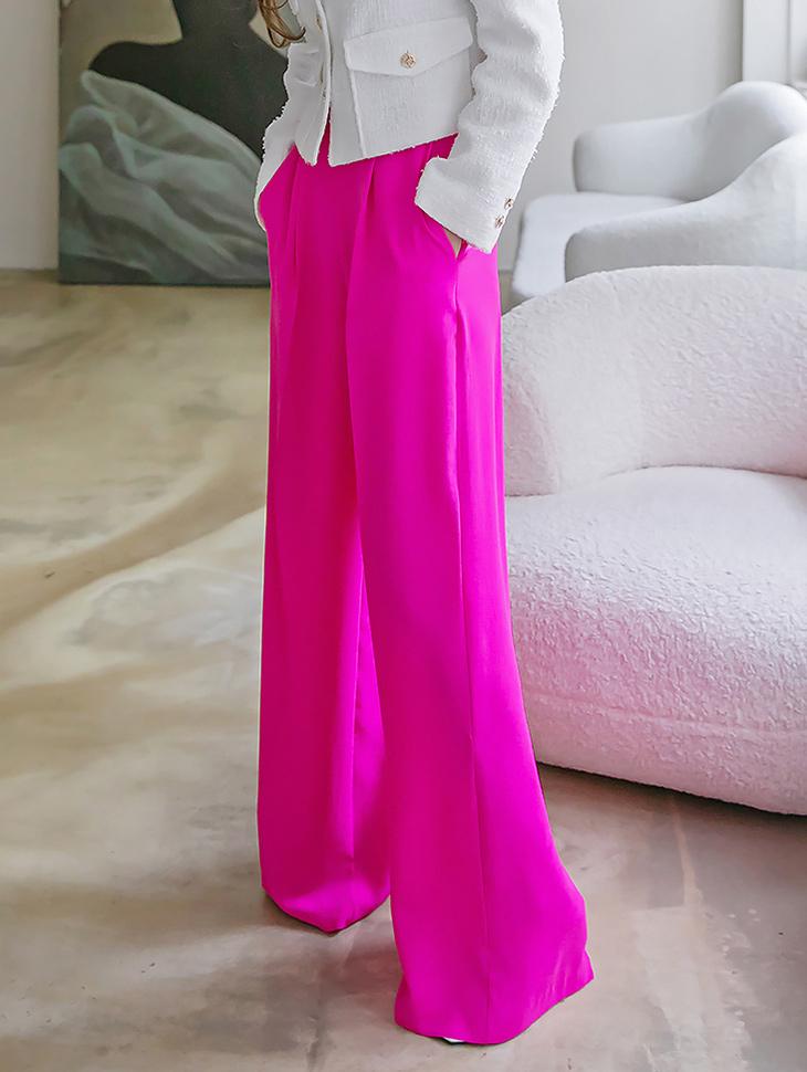 P9077 鲜艳皱褶宽裕宽裤