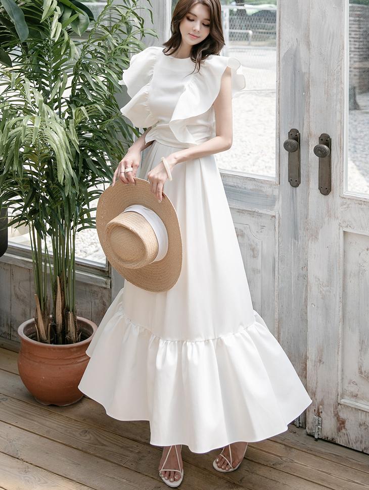 D9166 荷叶边露脐雪纺衫裙子两件套