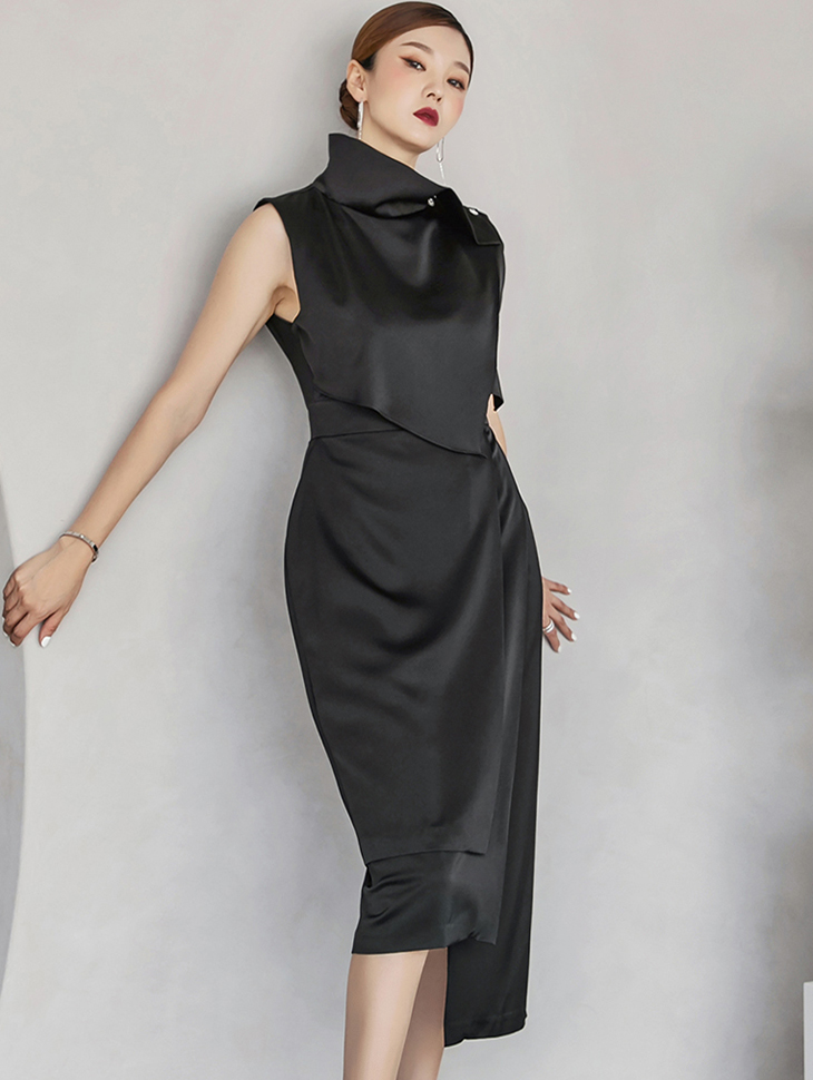 D9250 重叠无袖不规则连衣裙