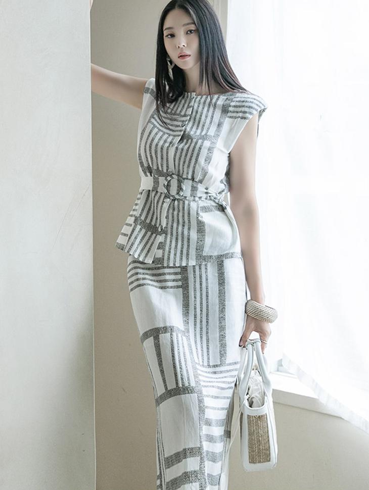 D4087 亚麻图纹无袖 件式套装(腰带组合)