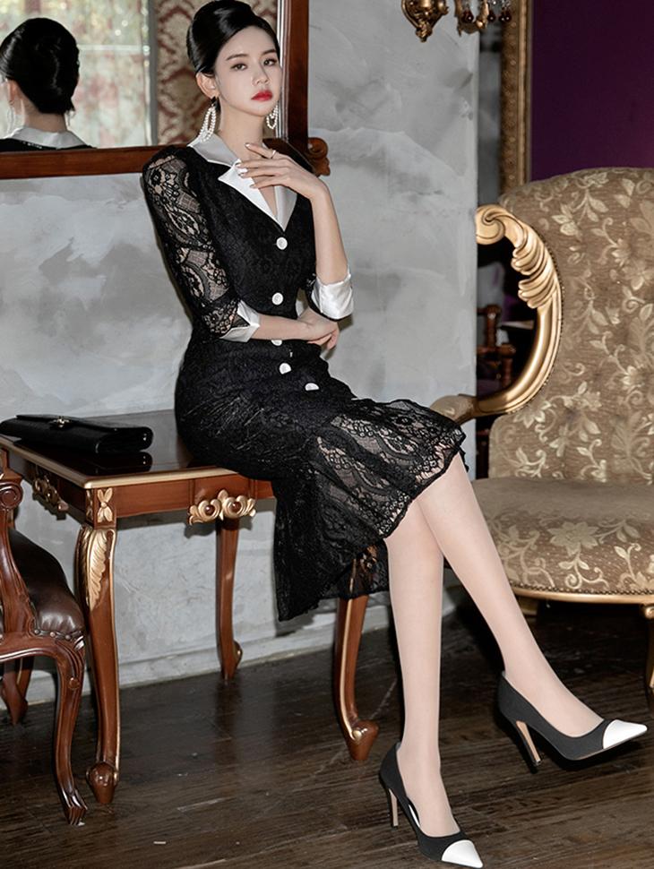 D3974 丝滑蕾丝连身裙(14再进货)