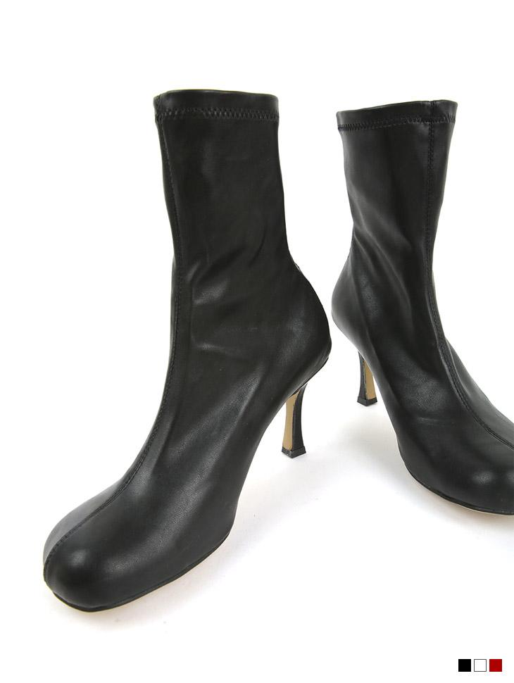 AR-2812 皮革圆领袜高跟鞋踝靴*拉毛里子*