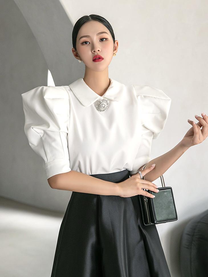 B9094 首饰领折裥泡泡雪纺衫 (第11次进货)