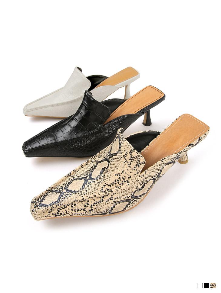 AR-2810 蛇皮纹皮革方形高跟鞋拖鞋