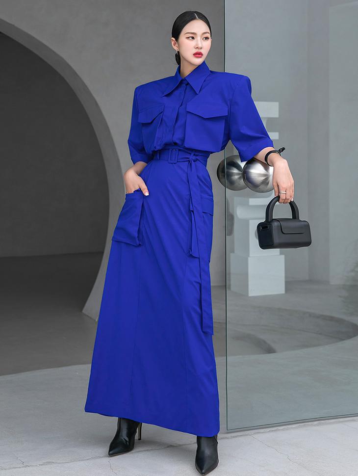 TP9054 简约大双口袋露脐衬衫两件式套装组合(SKIRT腰带 组合)*组合 5%*