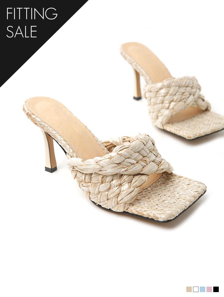 PS2255 绑带方形高跟鞋拖鞋*试穿优惠*