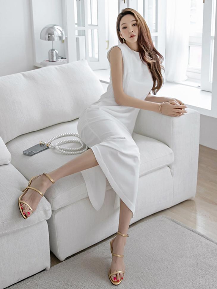 D4230 鱼尾裙无袖长版连身裙