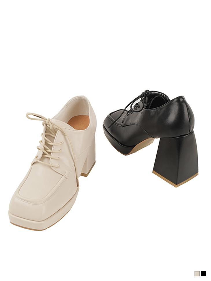 AR-2827 皮革方形蕾丝高跟鞋女式无带轻便鞋