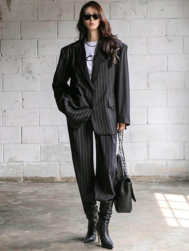 TP1286 条纹宽裕简约夹克两件式套装组合*组合 5%*