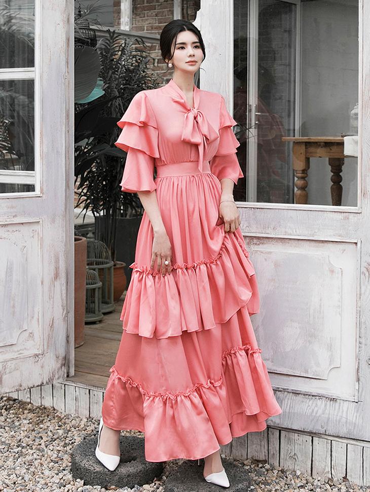 D9139 荷叶边长版连身裙