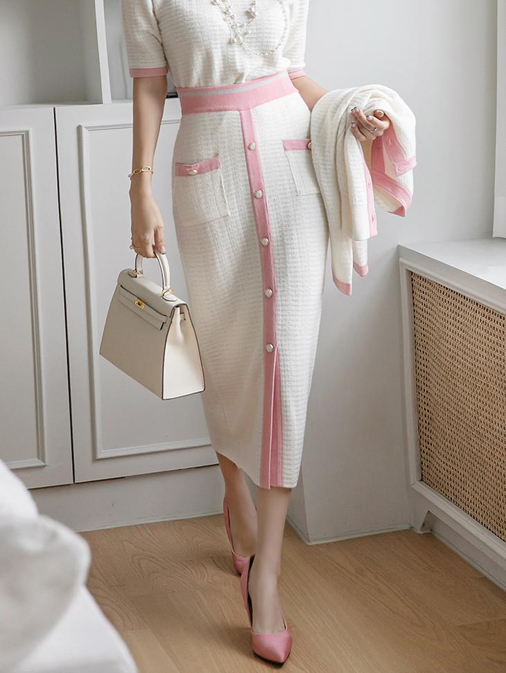 SK2201 羊毛色配色钮扣松紧针织中长裙